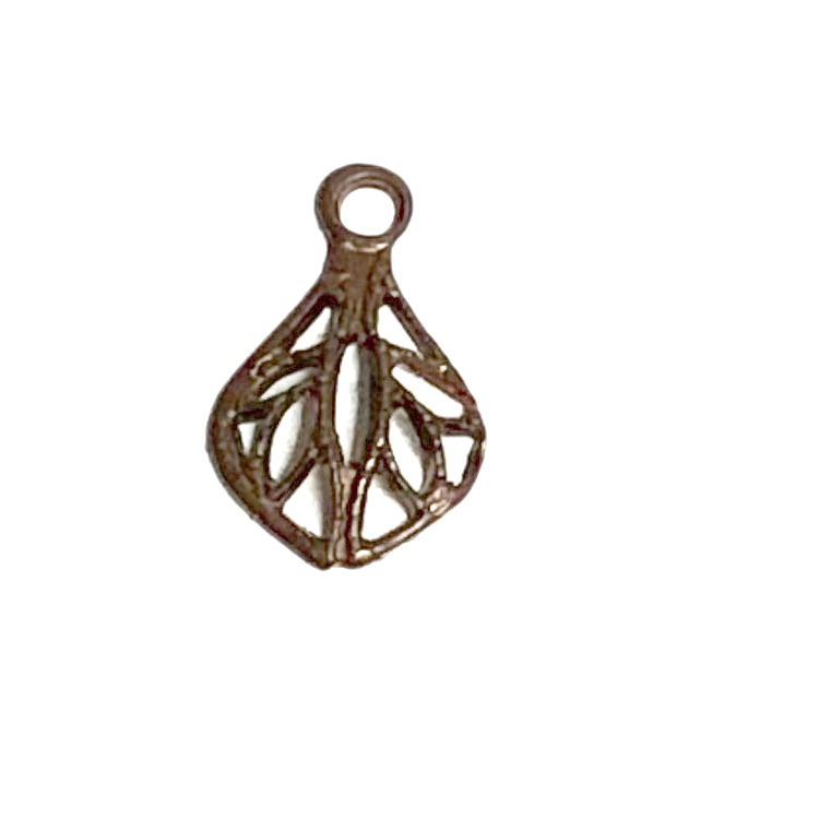 Vintaj Natural Brass Filigree Tear Drop Charm 8x12mm (4)