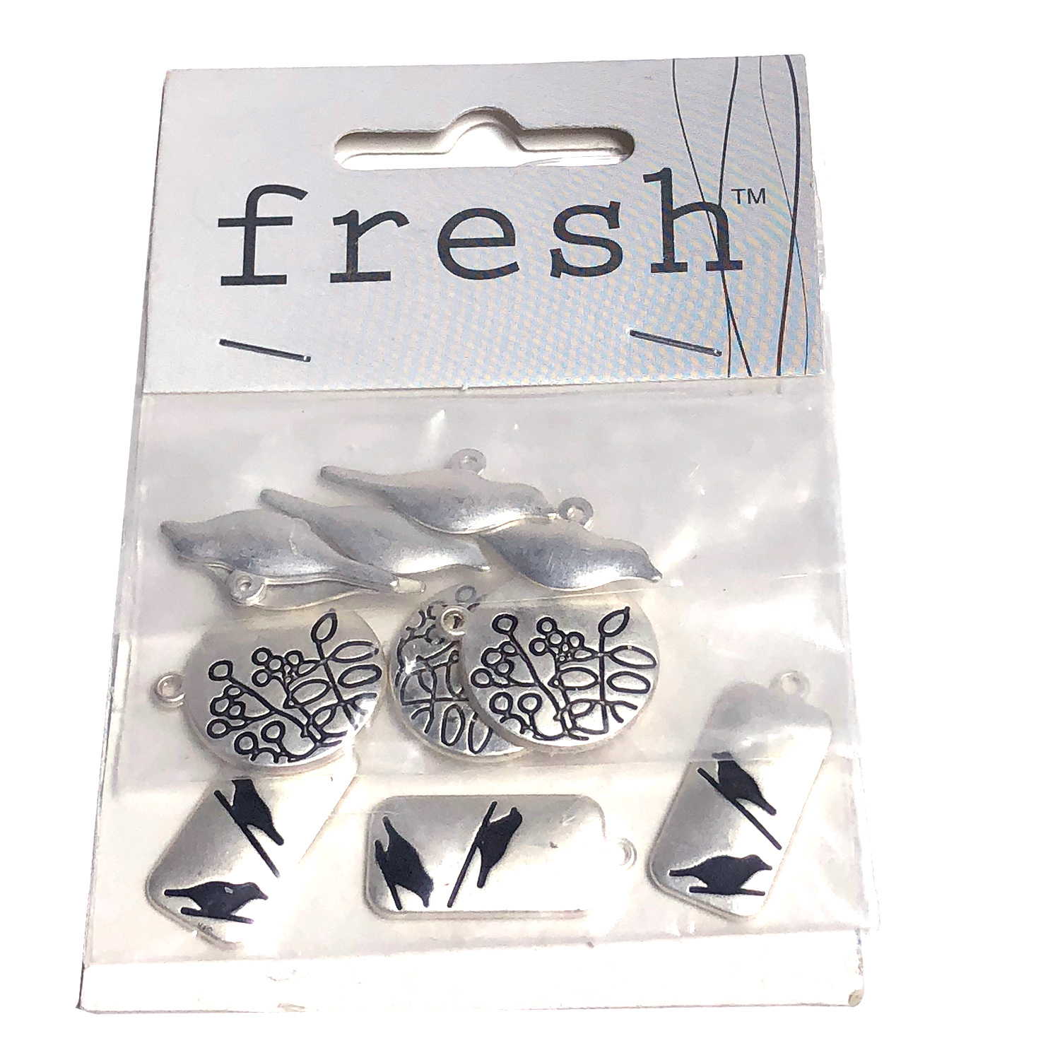 Fresh 11 Metal Charms Bird Set #85909