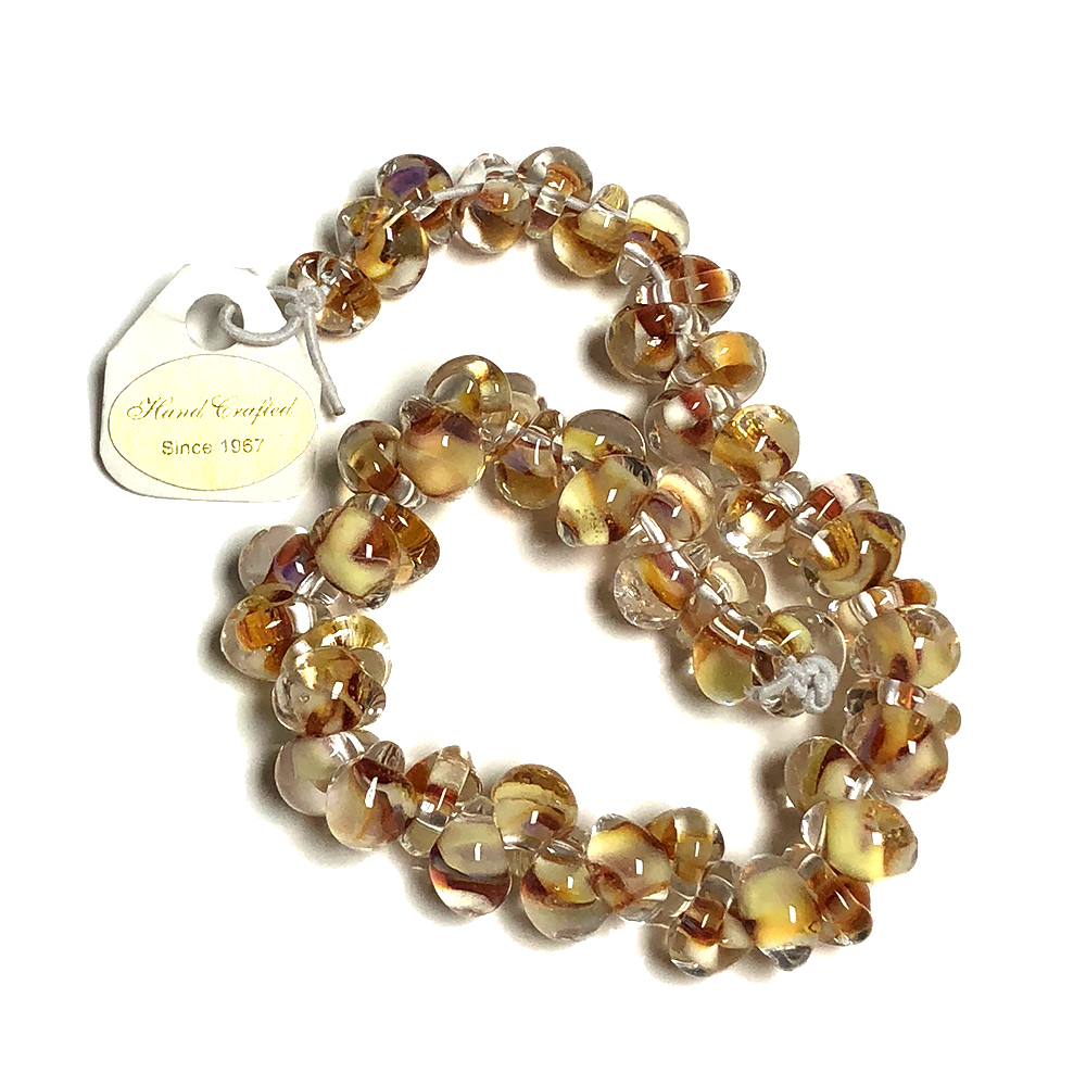 Handmade Lampwork Drop beads Color inside Amber-Yellow (50)