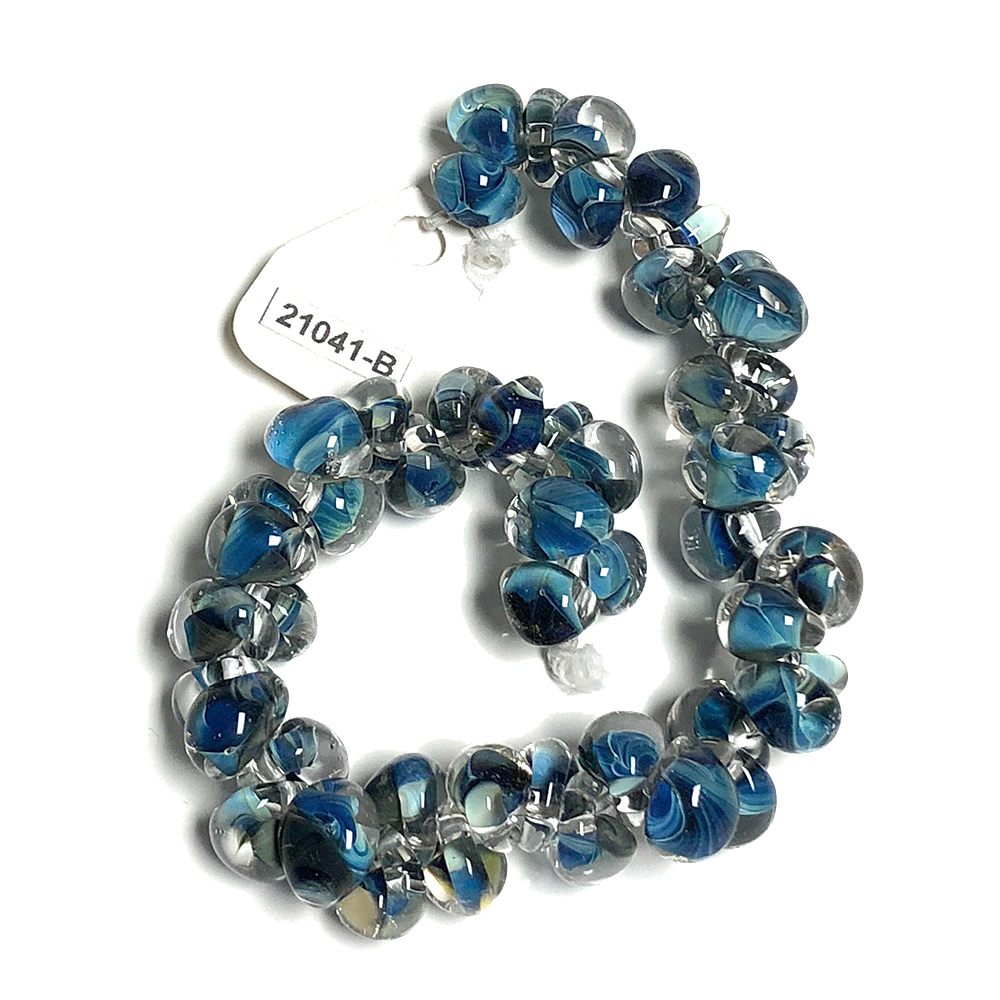 Handmade Lampwork Drop beads Color inside Blue (50)