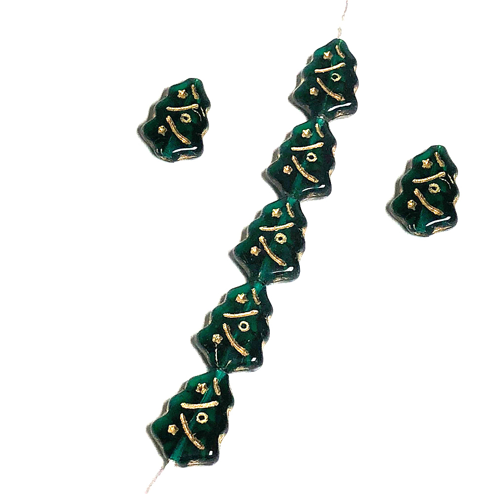 Glass Czech Christmas Tree Green w/Gold inlay 17x12mm (7)