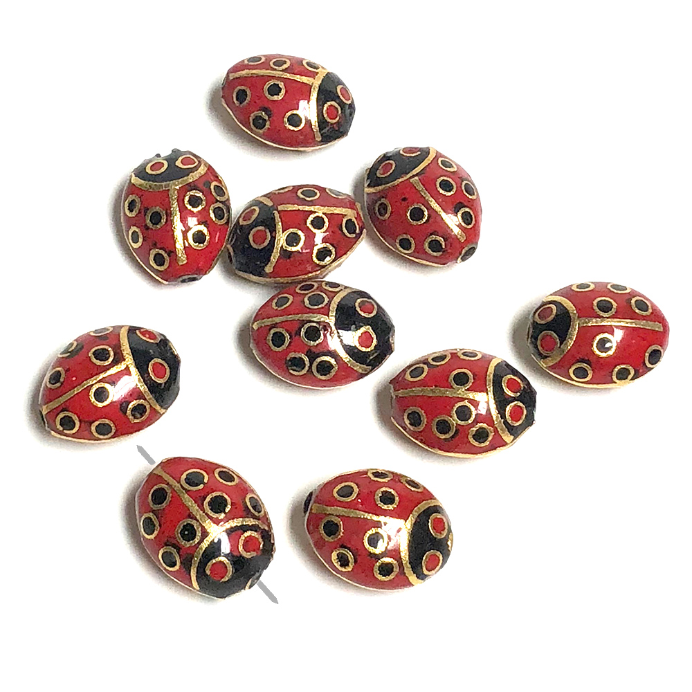 Lady Bug 16x12mm Cloisonne Red Black Gold (10)