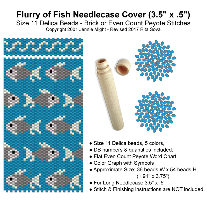"Flurry of Fish Needle Case Cover (3.5"" x .5"")"