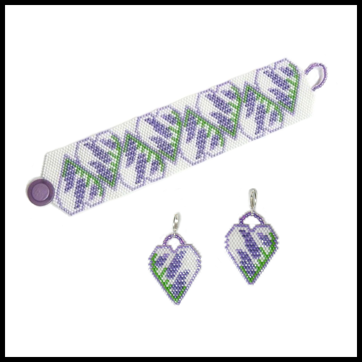 Lavender Hearts Reflections Bracelet & Earrings