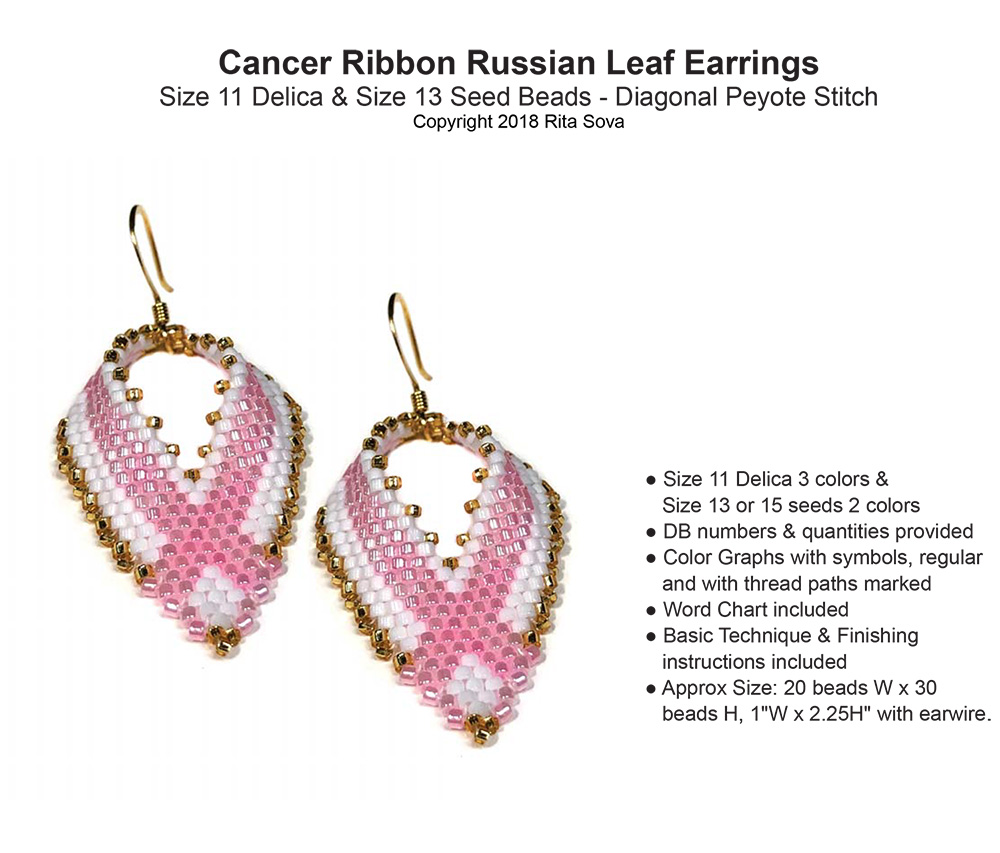 Cancer Ribbon Russian Leaf Earrings