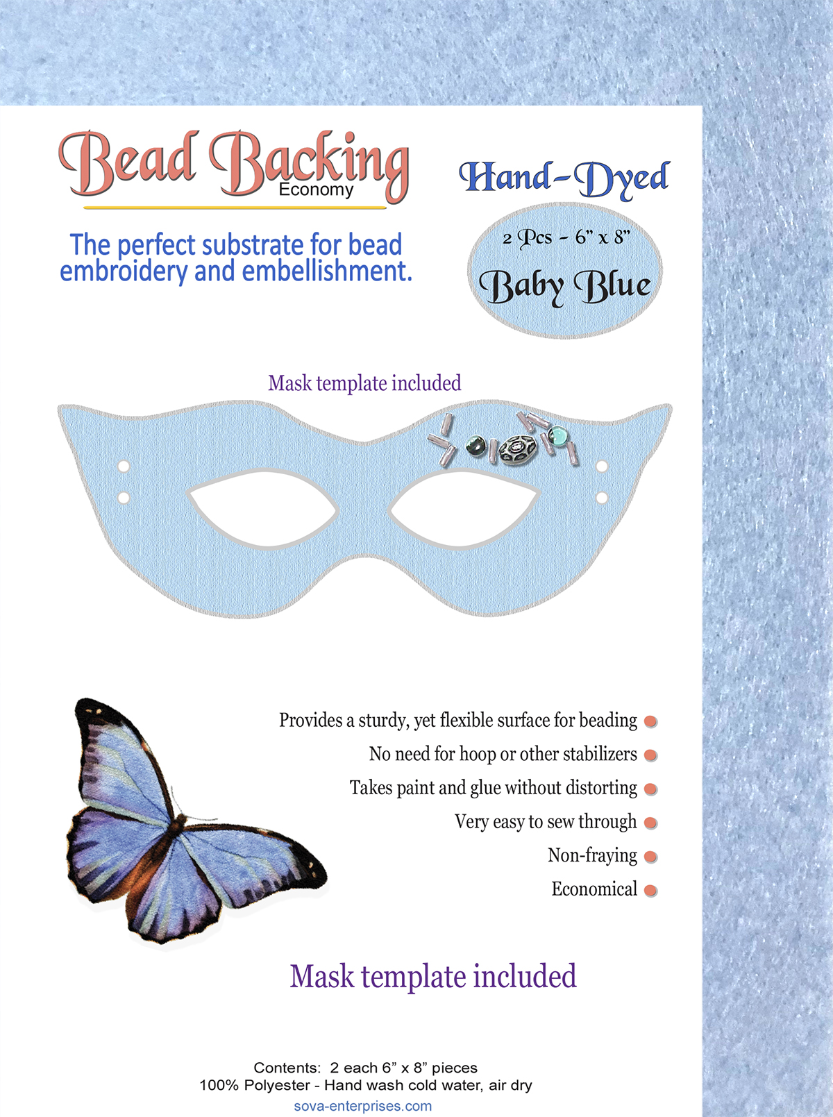 "Bead Backing Economy Foundation 6"" x 8"" Baby Blue(2)"