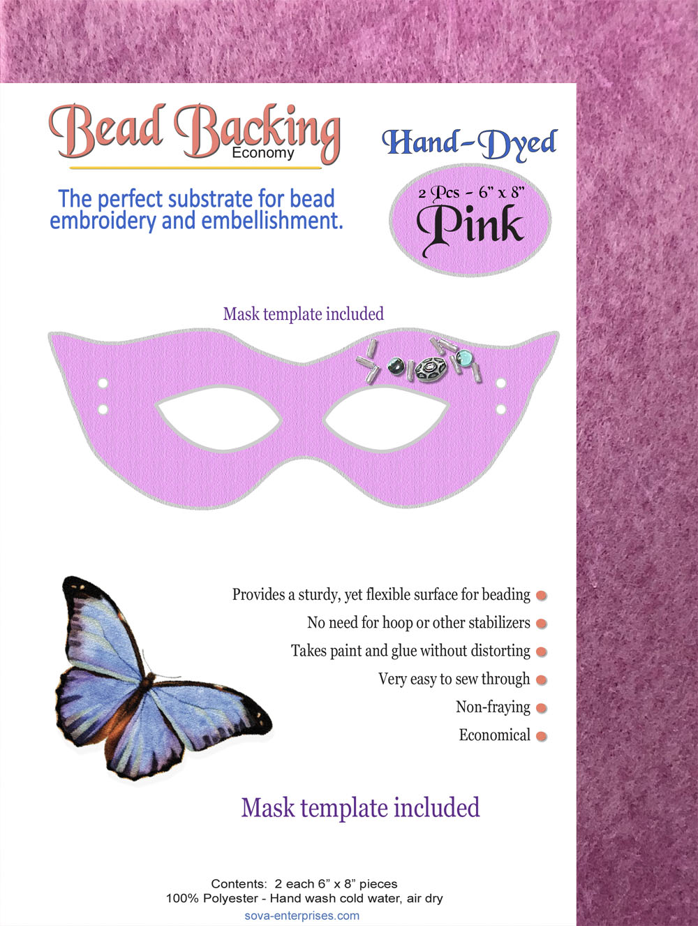 "Bead Backing Economy Foundation 6"" x 8"" Pink (2)"