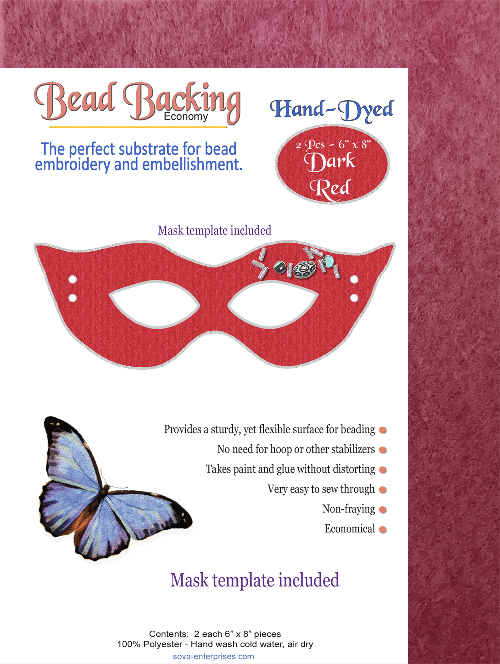"Bead Backing Economy Foundation 6"" x 8"" Red, Dark (2)"