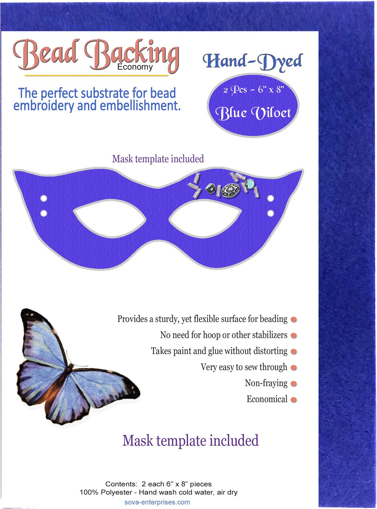 "Bead Backing Economy Foundation 6"" x 8"" Blue Violet (2)"