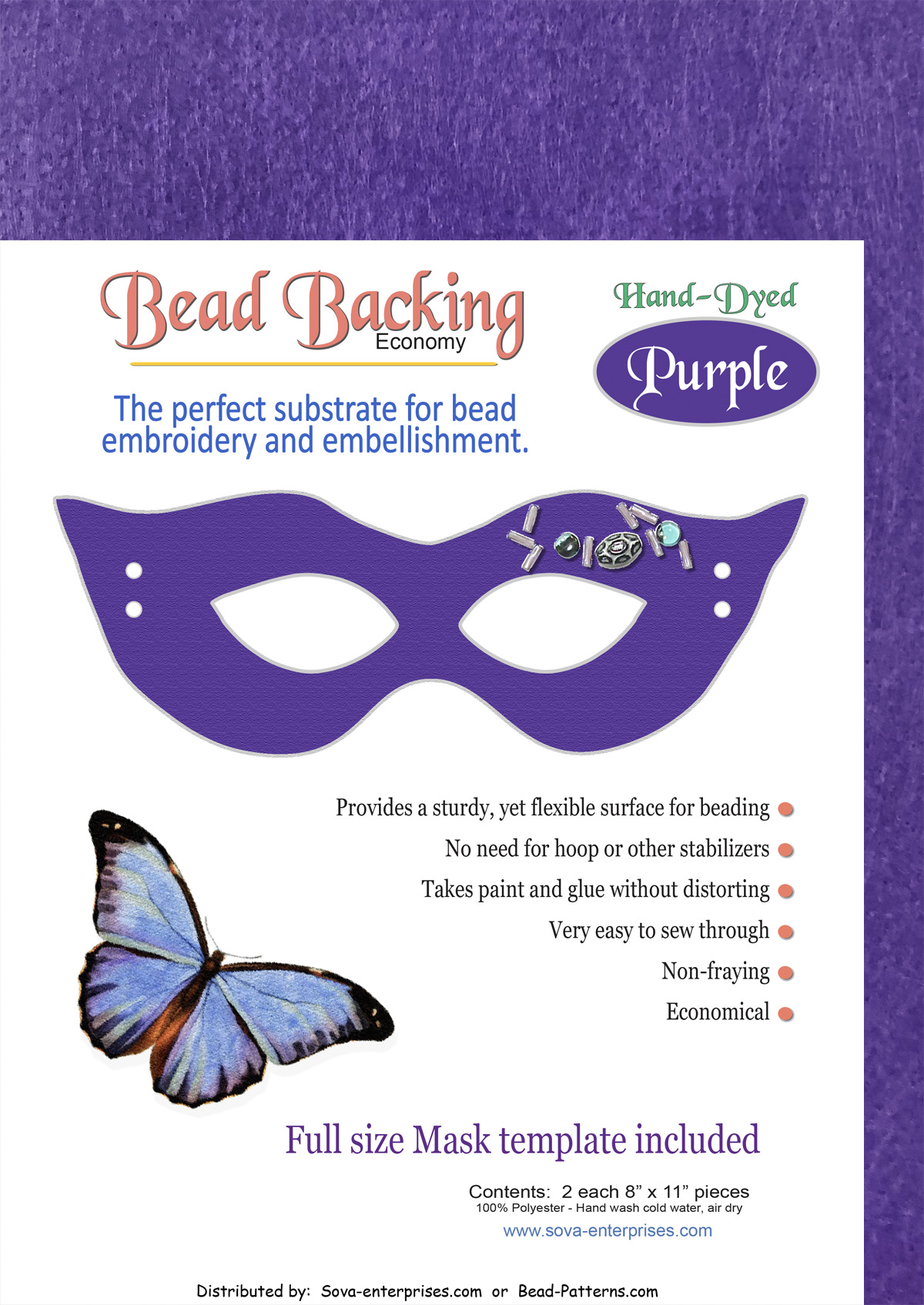 "Bead Backing Economy Foundation 8"" x 11"" Purple (2)"