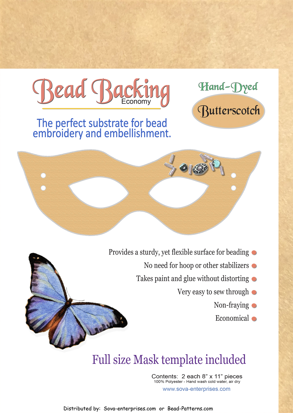 "Bead Backing Economy Foundation 8"" x 11"" Butterscotch (2)"