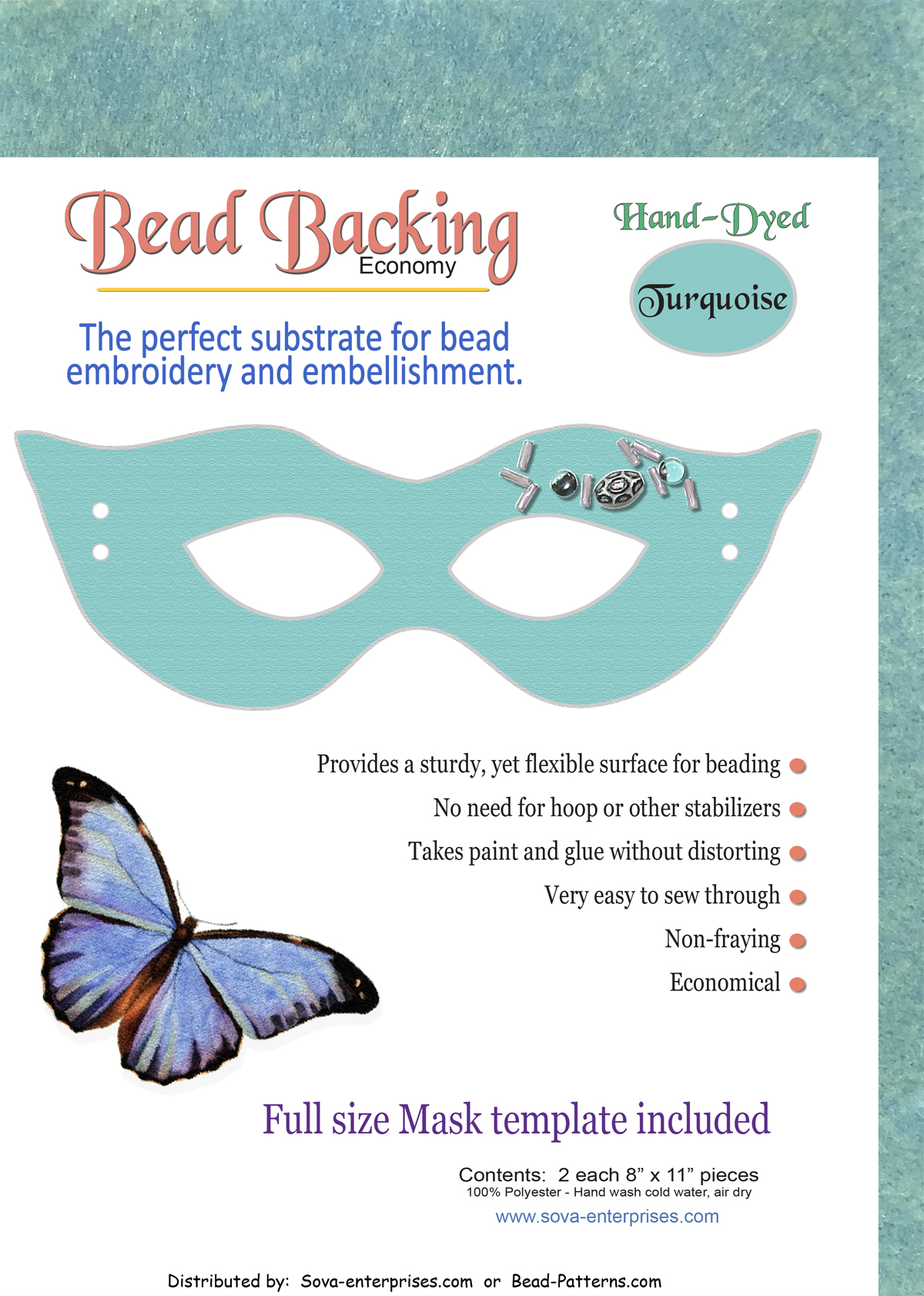 "Bead Backing Economy Foundation 8"" x 11"" Turquoise (2)"