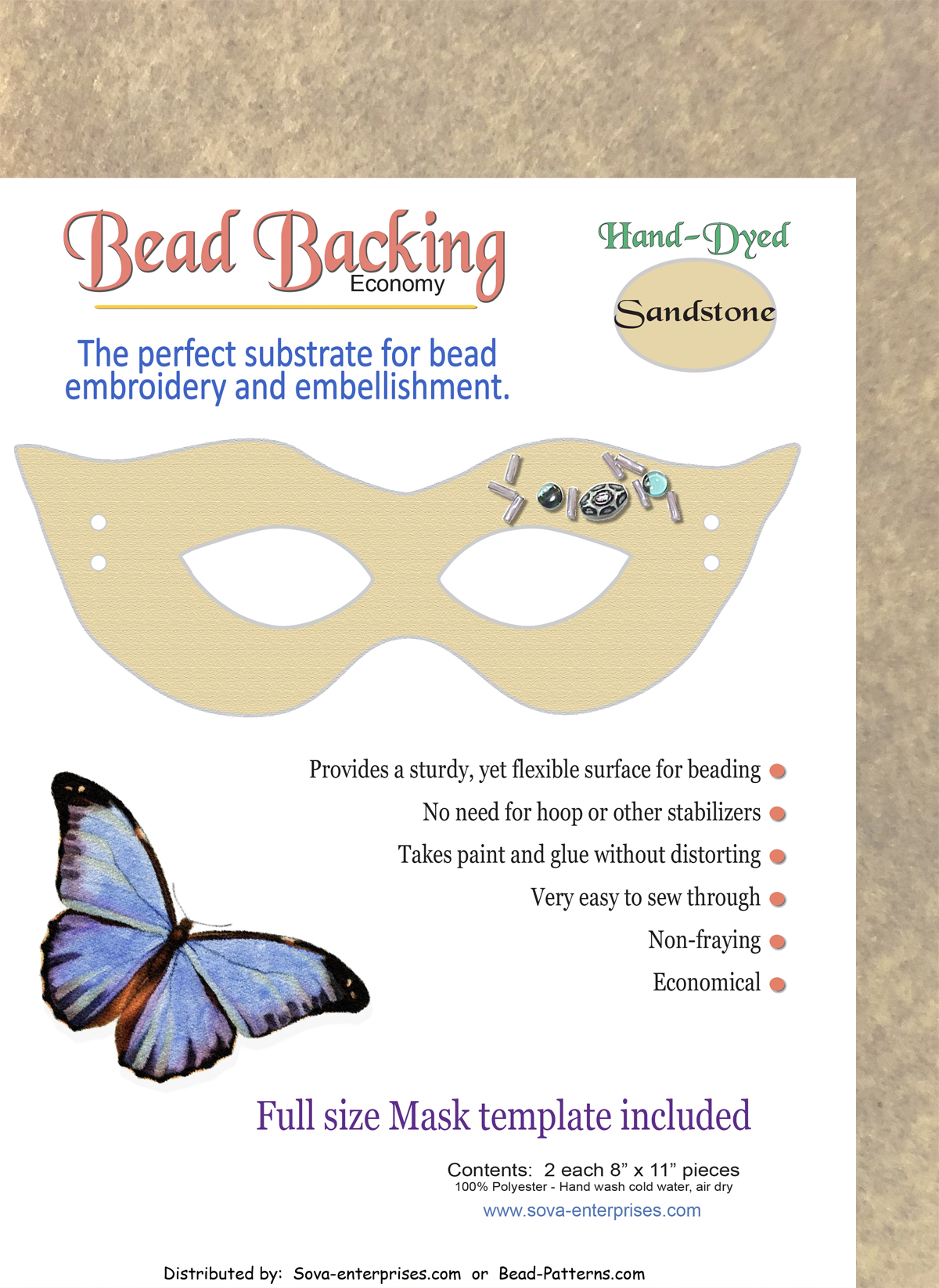 "Bead Backing Economy Foundation 8"" x 11"" Sandstone (2)"