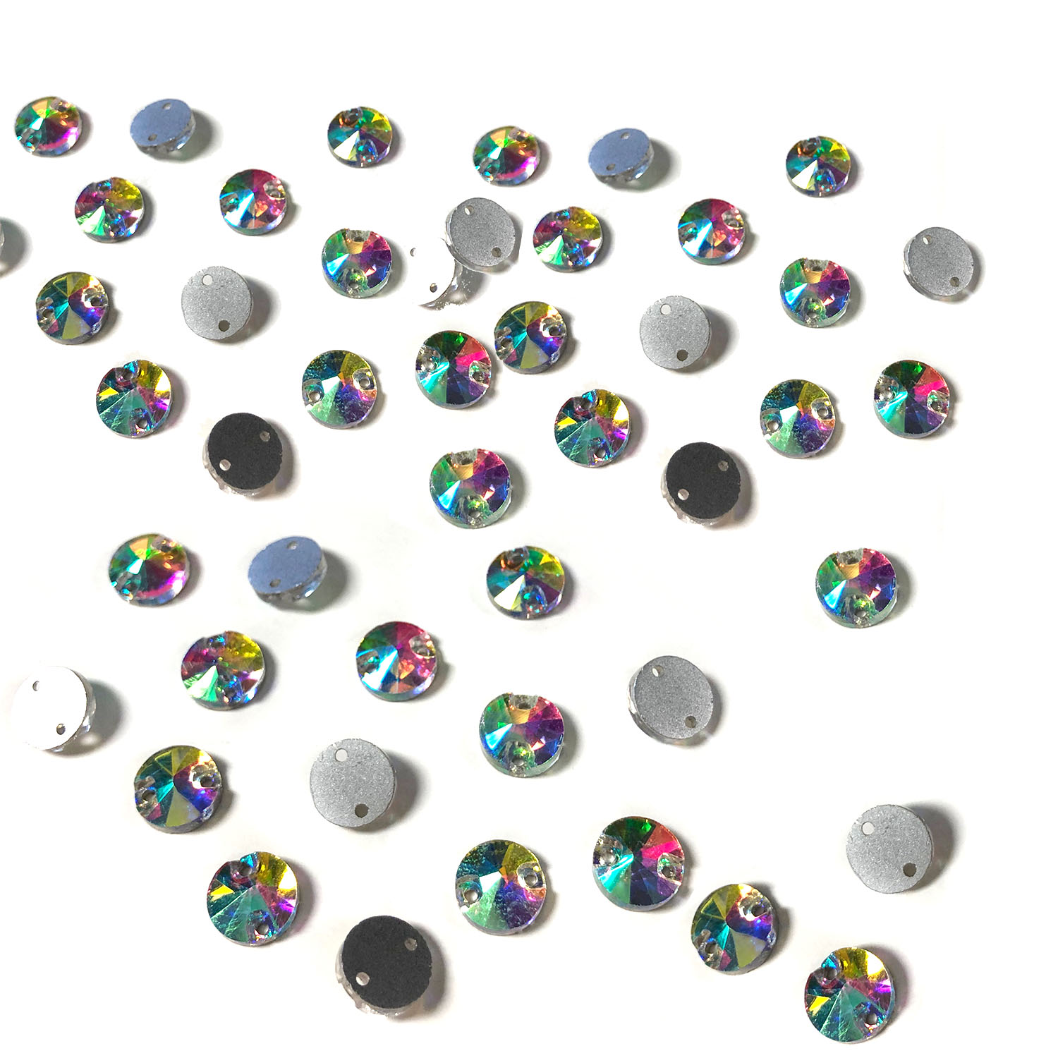 Rhinestone Flat Back Sew on 8mm Round Crystal AB (45)