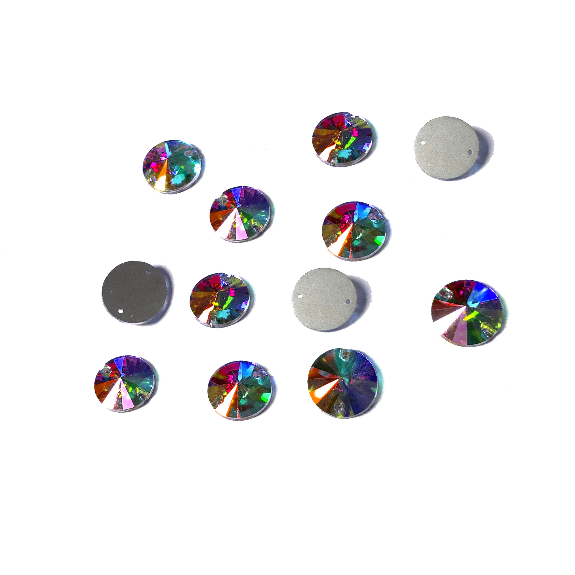 Rhinestone Flat Back Sew on 14mm Round Crystal AB (12)