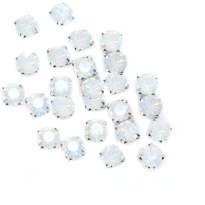 Rose Montee 3mm Opal in Silver Setting (24 pieces)