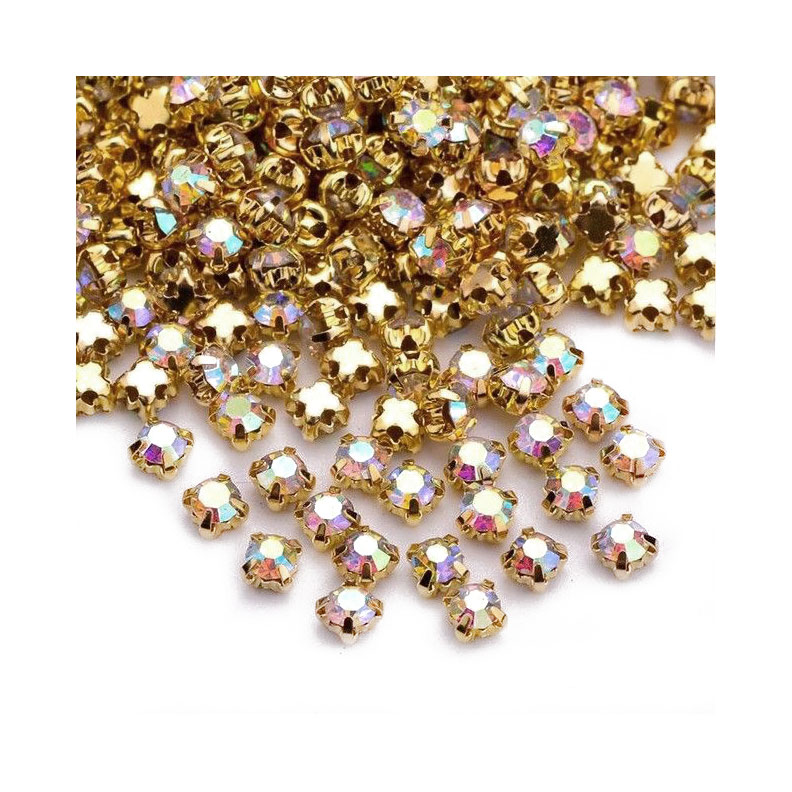Rose Montee 4mm Crystal AB in Gold (72 pieces)