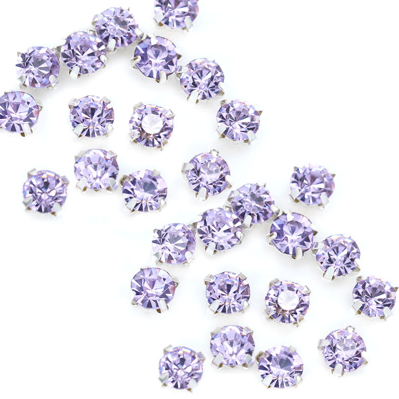 Rose Montee 3mm Lt Violet in Silver (24 pieces)