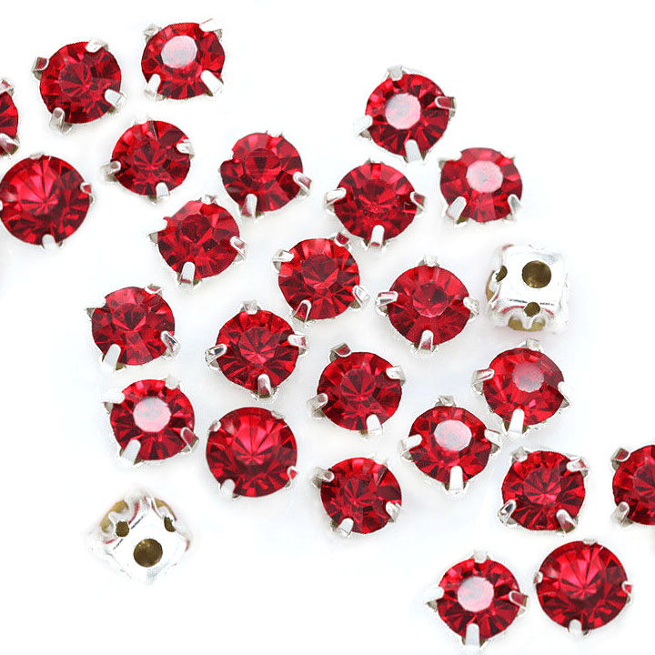 Rose Montee 3mm Red (Siam) in Silver (24 pieces)