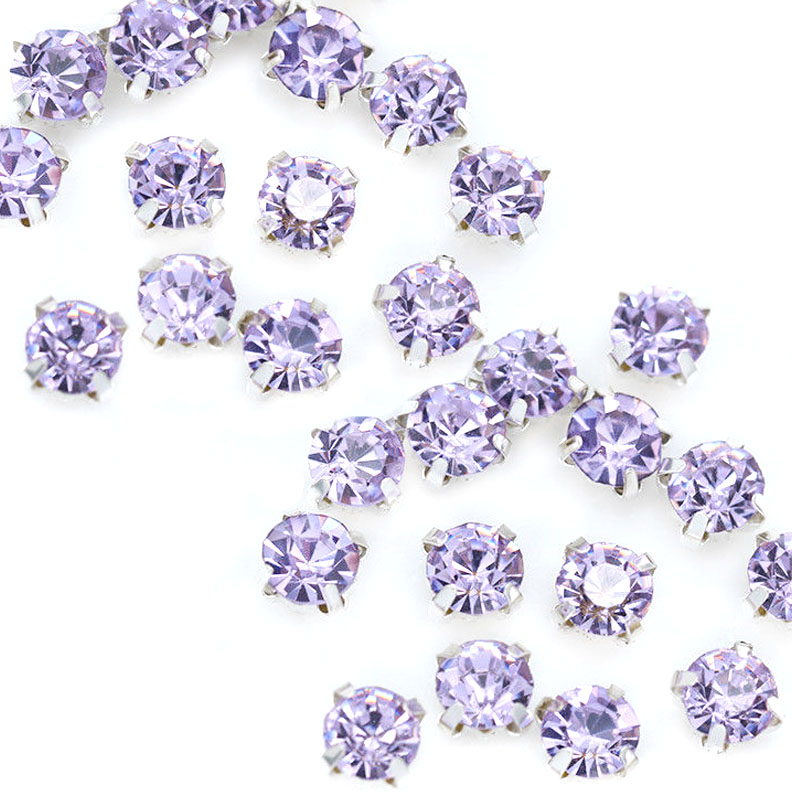 Rose Montee 4mm Lt Violet in Silver (24 pieces)
