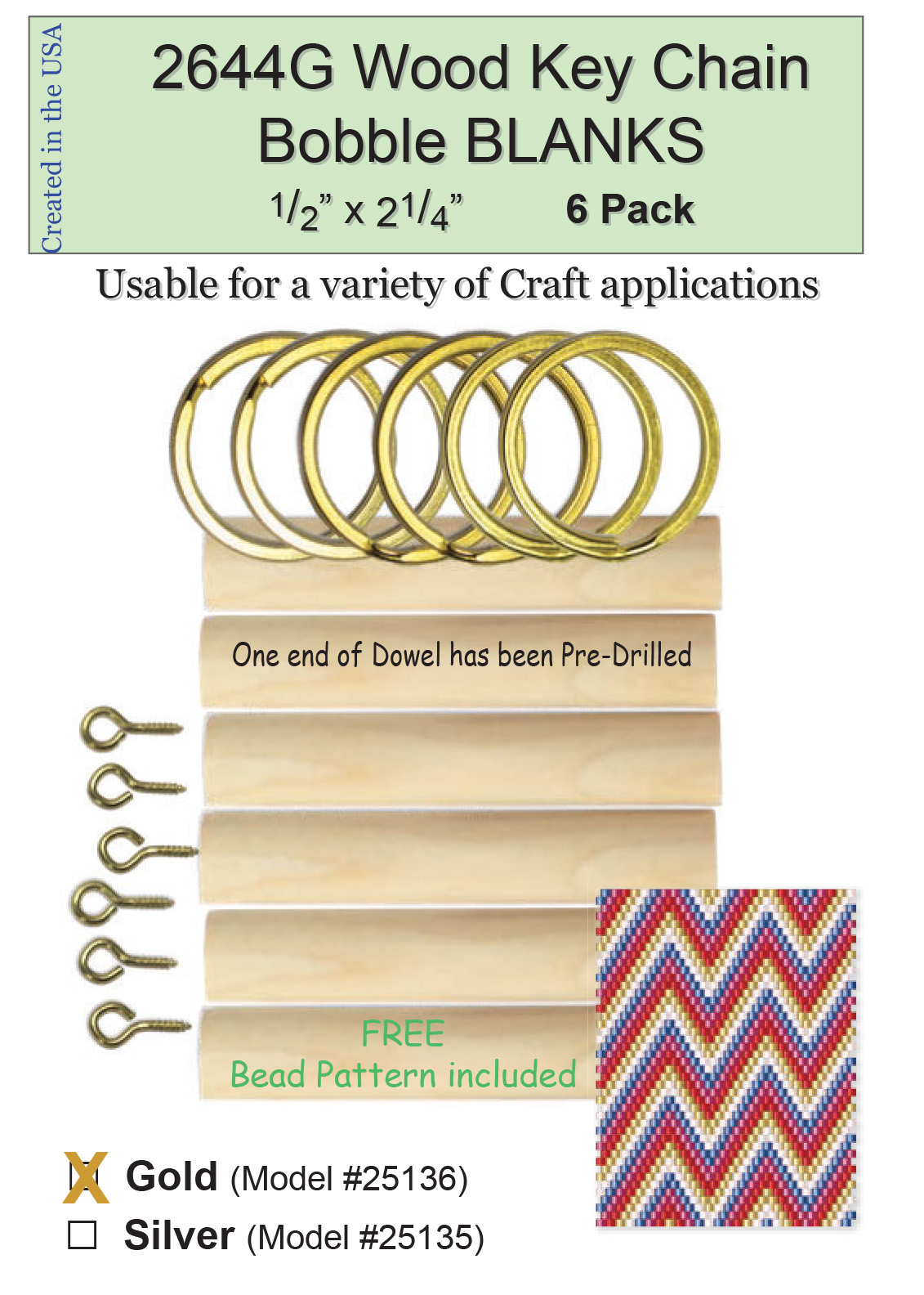 "Wood Key Chain Bobble Blanks Gold 1/2"" BLANK 6 Pack 2644G"