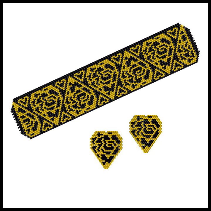 Gold-on-Black Rose-Filled Hearts Bracelet & Earrings