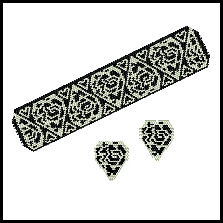 Silver-on-Black Rose-Filled Hearts Bracelet & Earrings