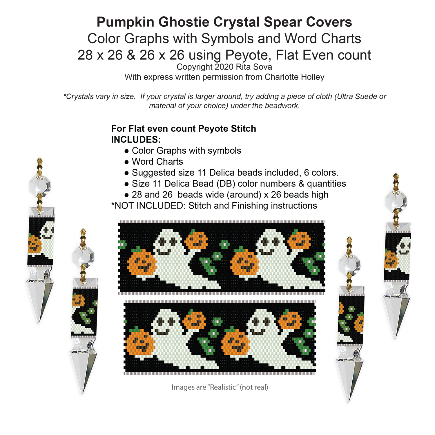Pumpkin Ghostie Crystal Spear Covers