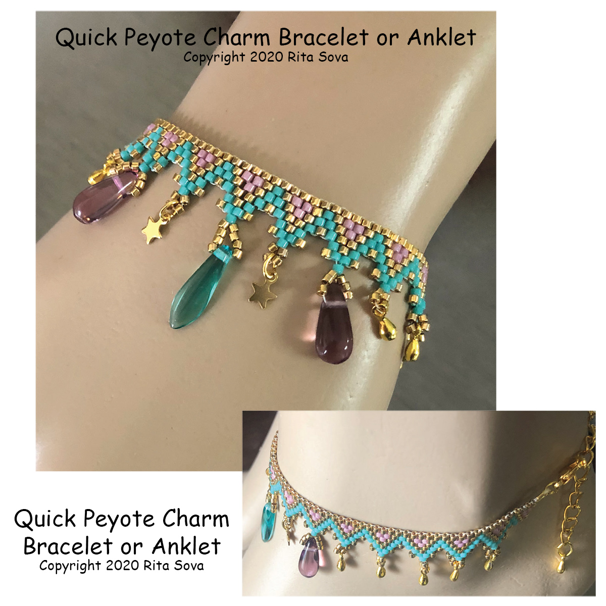 Quick Peyote Charm Bracelet or Anklet