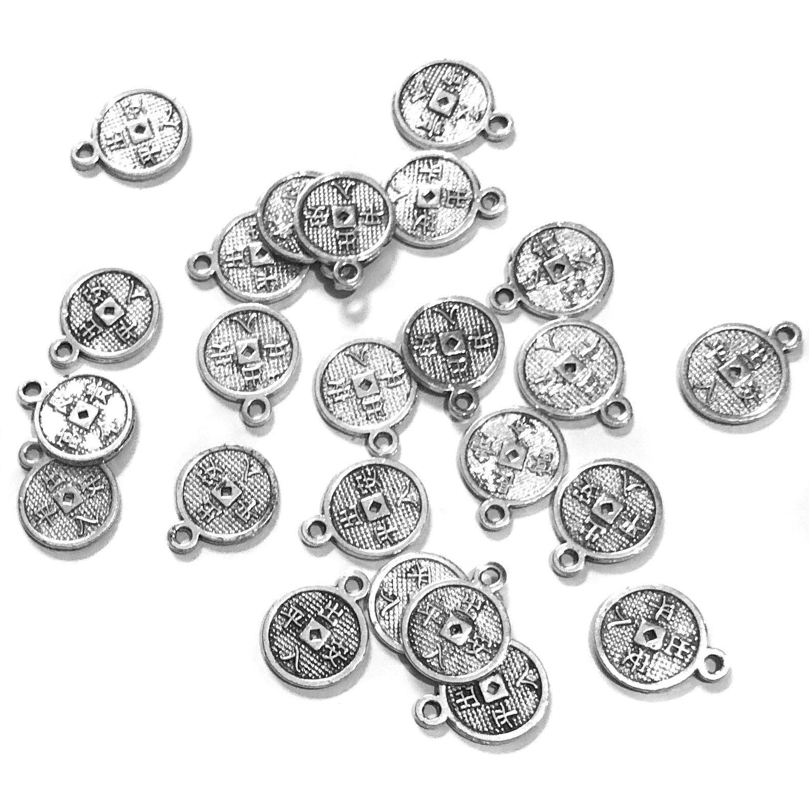 Coin Charms, Silver, Round, 9mm Health Wealth (24)