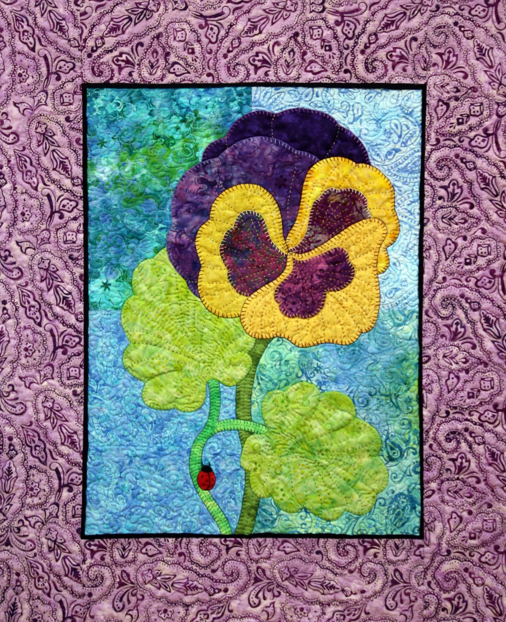 Applique Pansy Wall Hanging