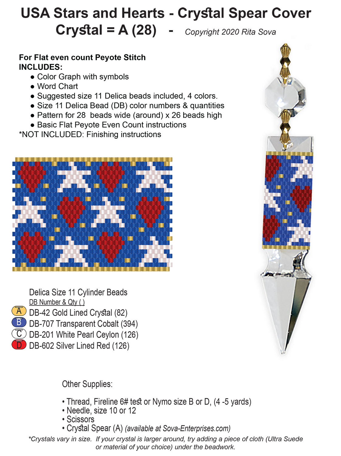 USA Stars and Hearts Crystal Spear Cover