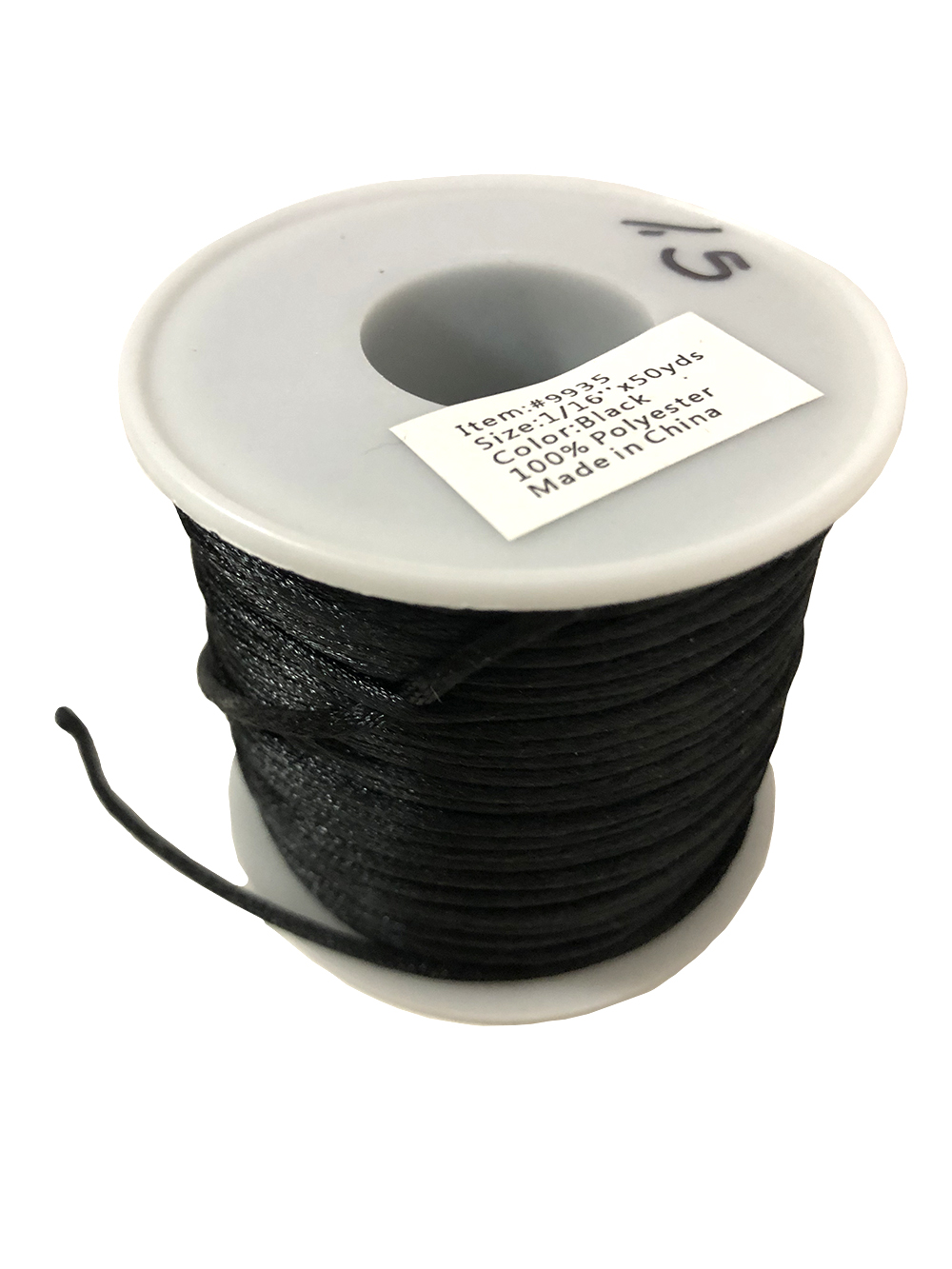 #1 Mousetail, 1.5mm Polyester cord, 50 yards, Black