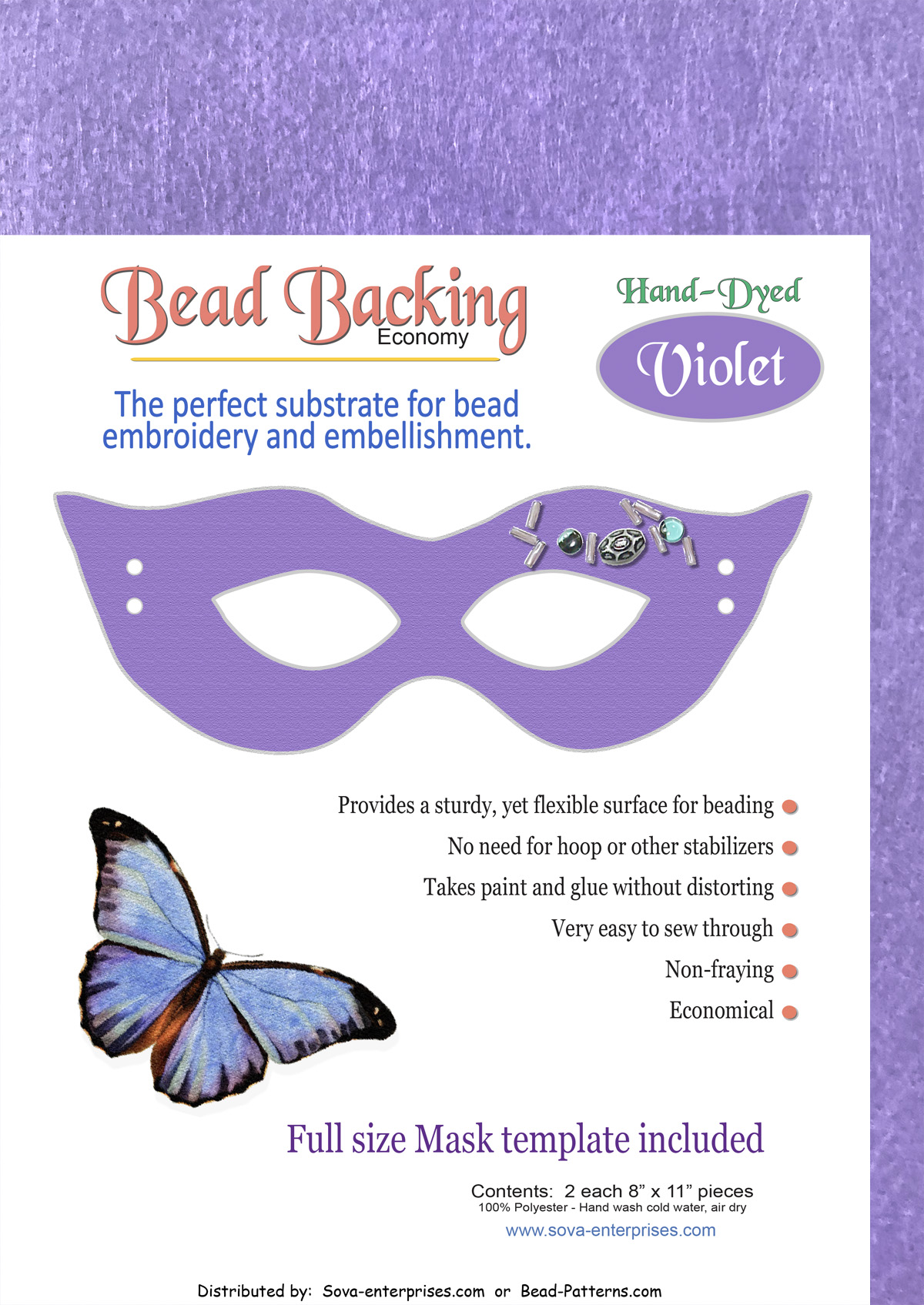 "Bead Backing Economy Foundation 8"" x 11"" Violet (2)"