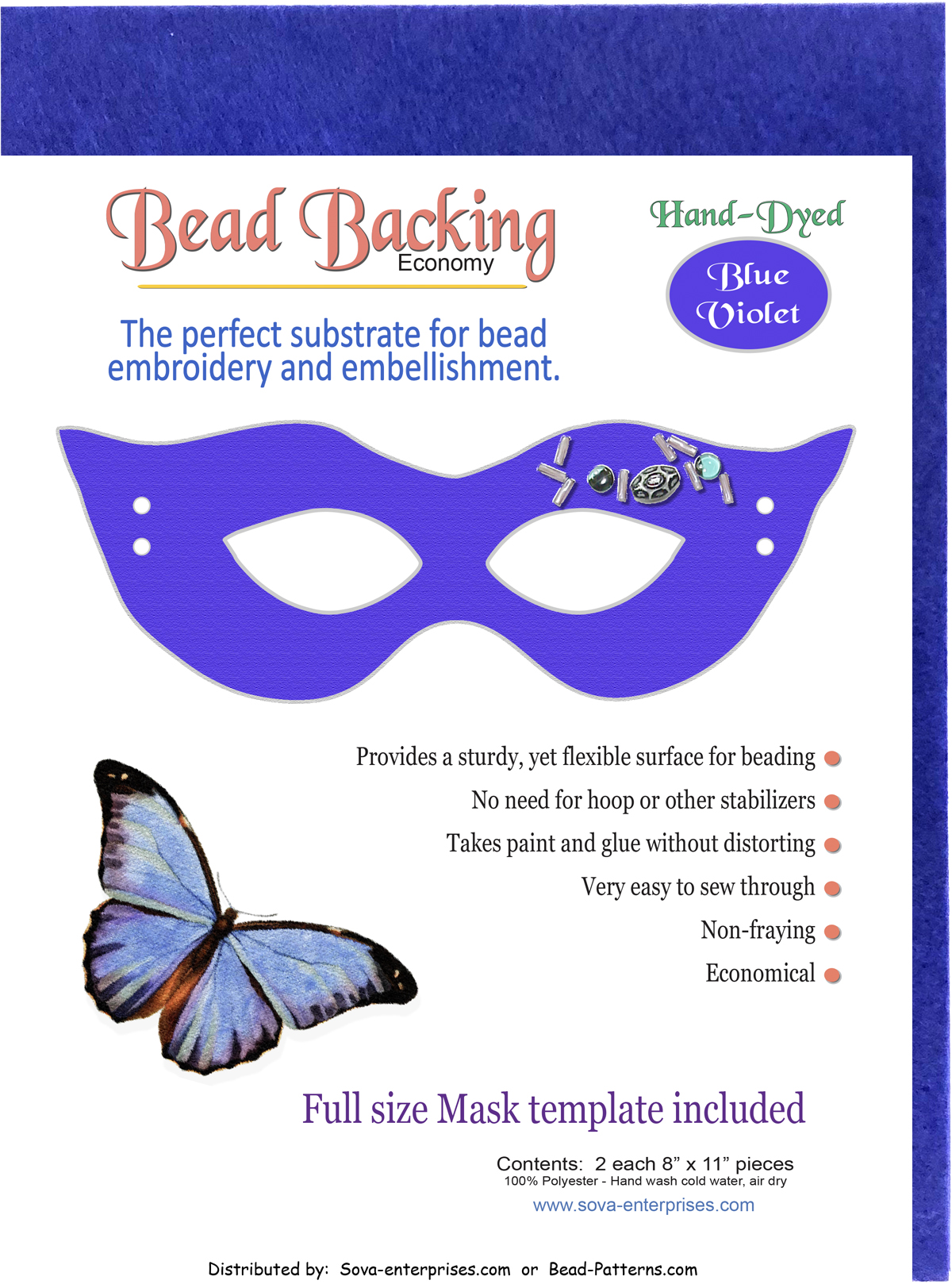 "Bead Backing Economy Foundation 8"" x 11"" Blue Violet (2)"