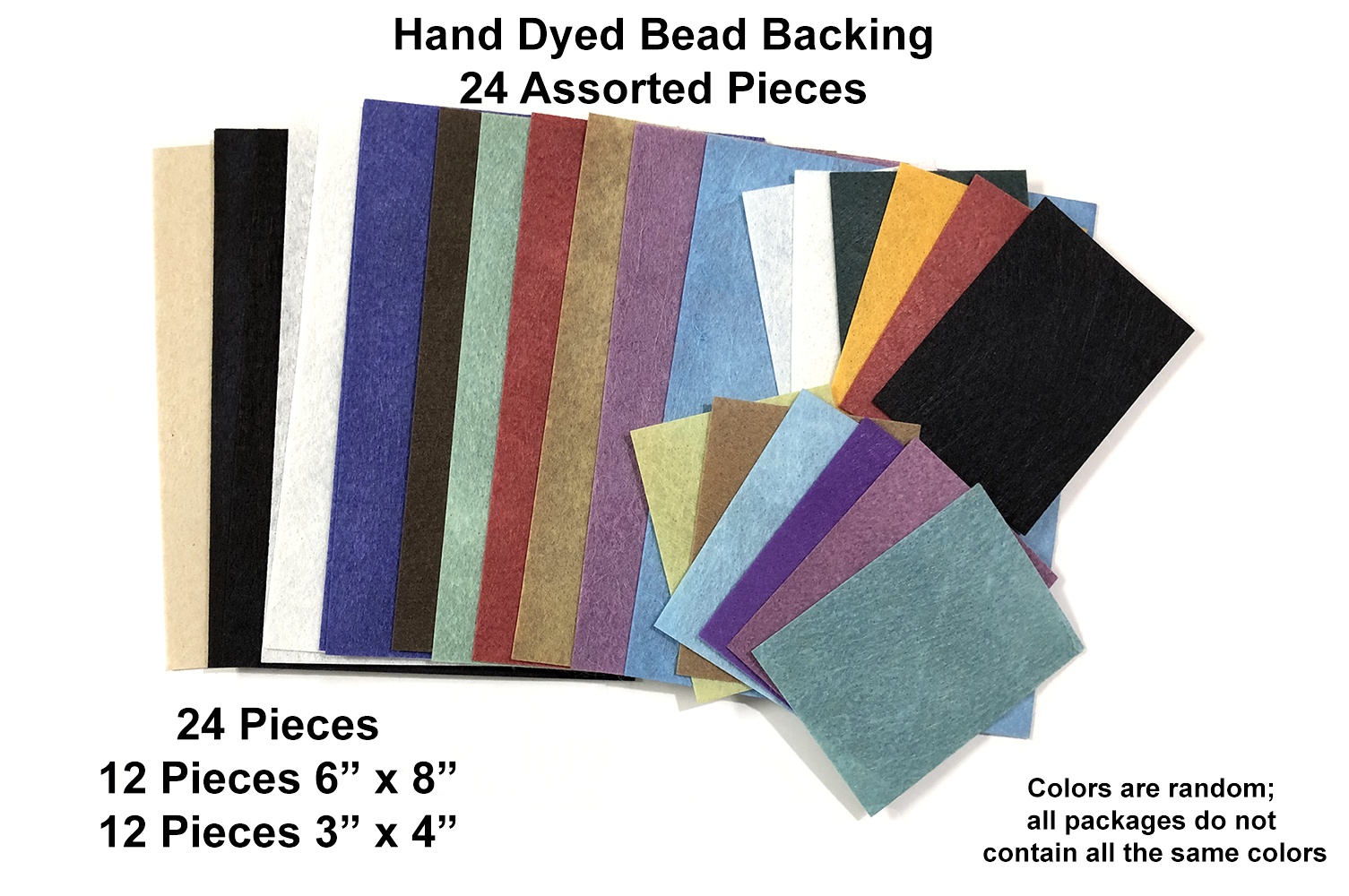"Bead Backing Economy Foundation 24 Assorted pieces; 6x8"" & 3x4"""