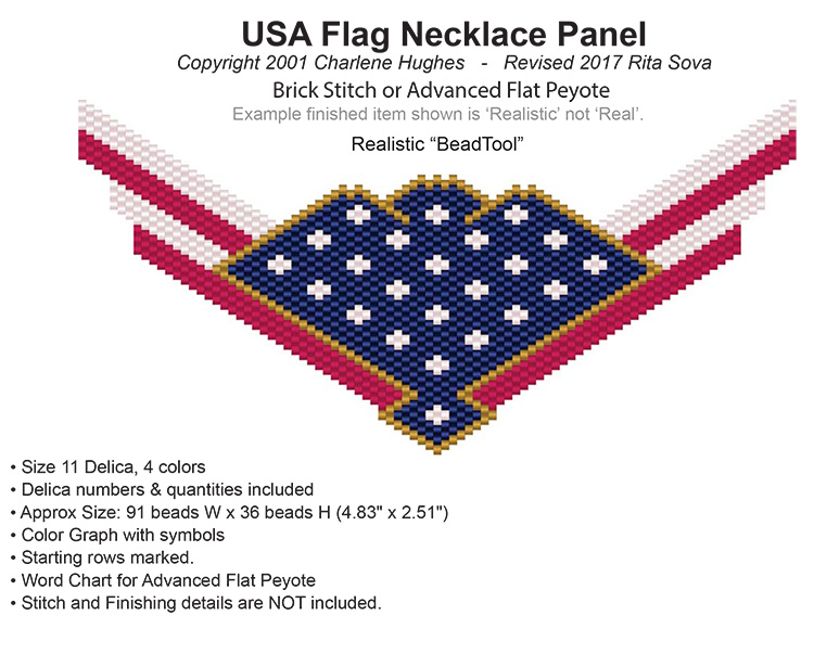 USA Flag Necklace Panel