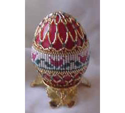 Tulips Herringbone Beaded Egg
