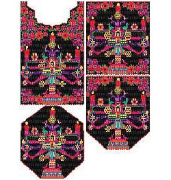 Mexican Tree of Life Pattern Set for Necklace, Tapestry or Patch