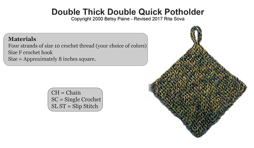 Crochet Double Thick Double Quick Potholder