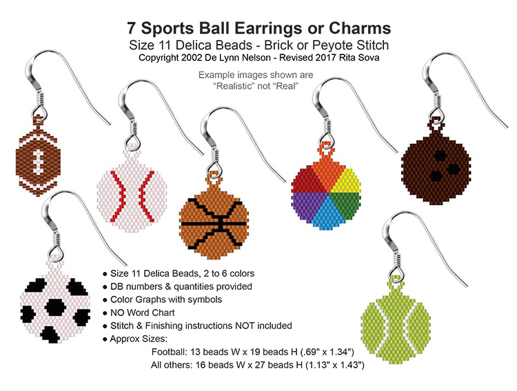 7 Sports Ball Earrings or Charms