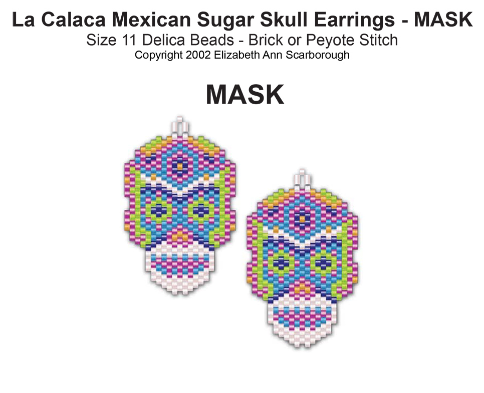 La Calaca Mexican Sugar Skull Earrings- Mask