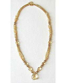 Glowing Citrine Herringbone Necklace