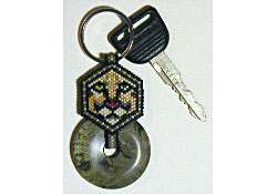 Cougar Mountain Lion Stone Donut Key Fob