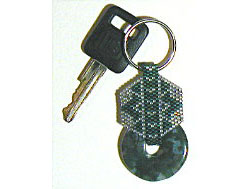 Green Piece stone donut key fob