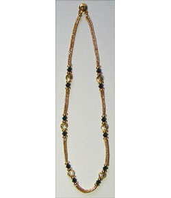 Cobra Style Herringbone Beaded Chain with Black Crystals