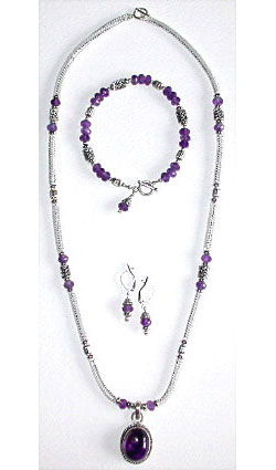 Herringbone & Amethyst Beaded Box Chain Necklace, Bracelet &
