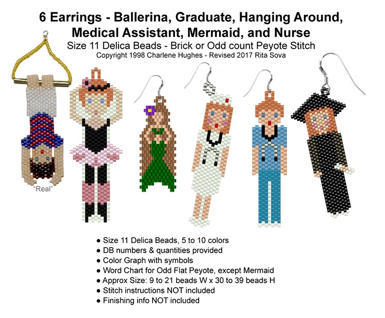 6 Earrings Ballerina-Grad-Hanging-Medical-Mermaid-Nurse