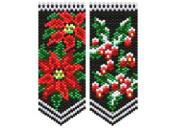 Poinsettia & Holly Berry flower panels