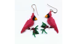 Three Dimensional Cardinal Earrings
